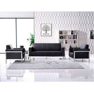 3 Seater Modern Sofa Leather Stainless Steel Frame Black Leather Office Sofa