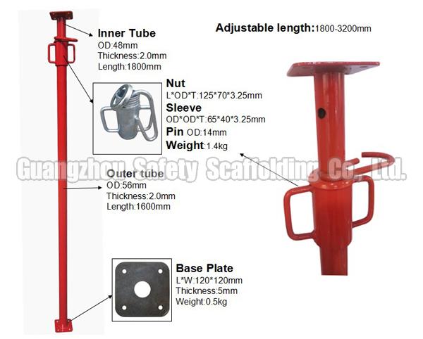 Construction Light Parts : Construction telescopic scaffold acrow prop for slab