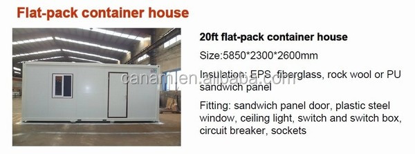 20ft flat-packed container house for sales