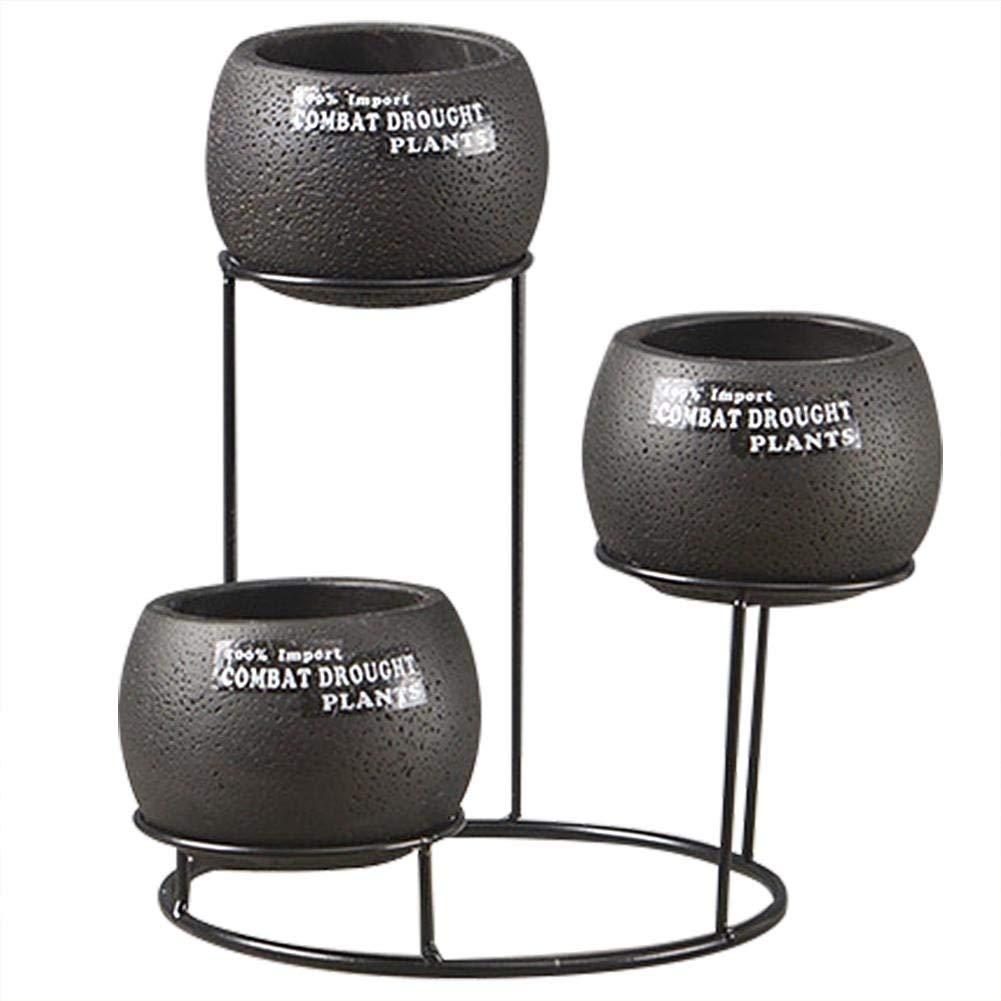 Flower Pot Set,European Style Desktop Succulent Plant Planter,Round Cement Pot,Breathable Black Cement Planter Set with Iron Stand Holder