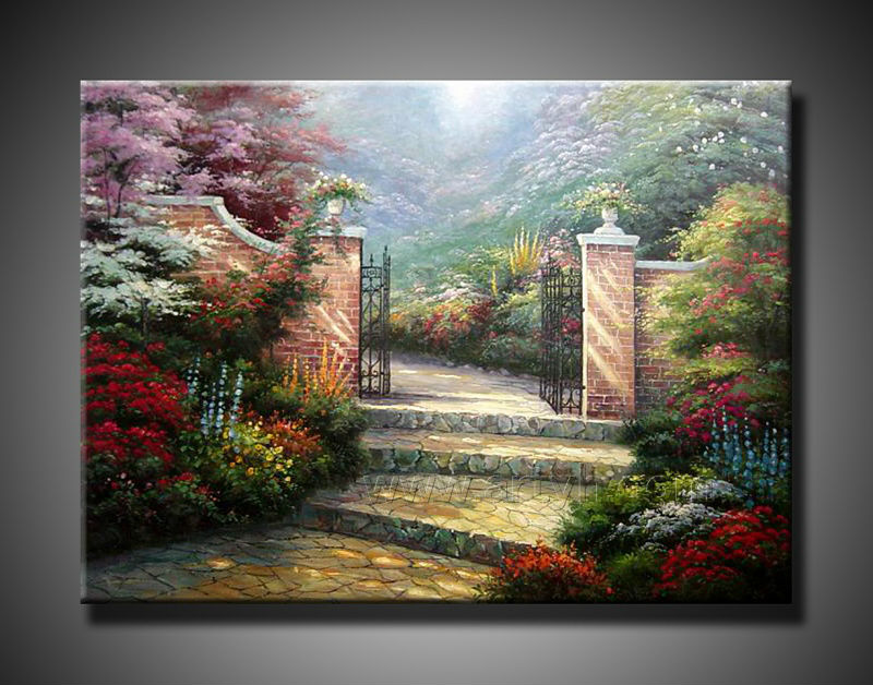 flowers garden scenery painting for wholesale
