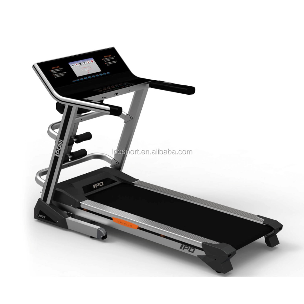 gym equipment running machine with mirror full touch control panel automatic 20% incline cheap treadmill with MP3 USB connect