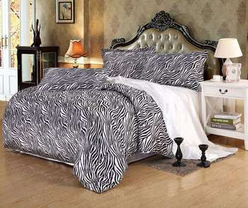 Bedding Set Zebra White Bed Sheet Silk And Cotton Bedclothes Home Edredones  Colchas 4Pcs Set Twin