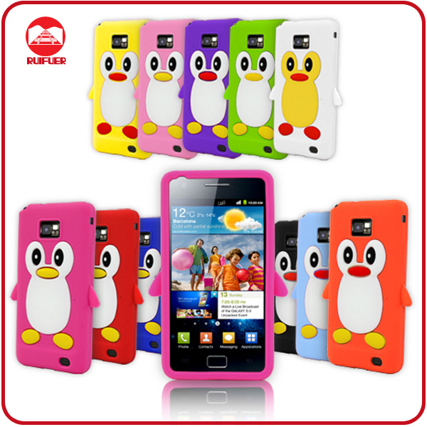 Fancy Soft Rubber Skin Gel Penguin Animal Stylish 3D Case for Samsung Galaxy S2