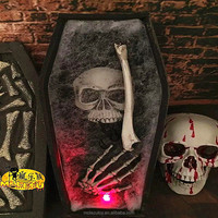 Customized High quality Halloween Props haunted house coffin decorations with shine