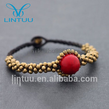 New Design Red Coral Round bead Bracelet Brass bell yoga jewelry bracelet