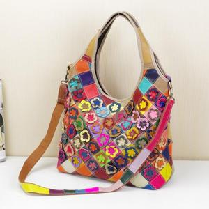 Handmade Multicolored Flower Splicing Women Tote Bag Pu Leather Female Hand Bag Fashion Lady Shoulder Hand Bag