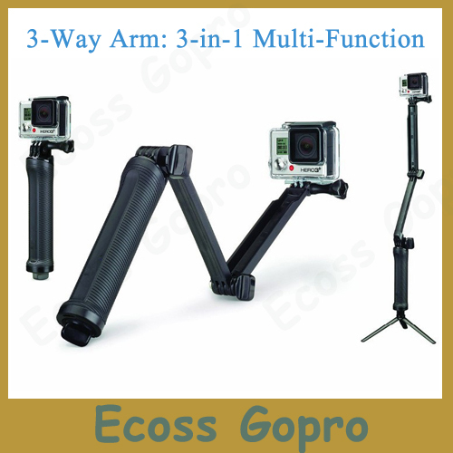 GoPro 3-Way Arm Mount 3-in-1 Multi-function  Monopod Tripods Handheld Grip For Gopro Hero 4/3+/3/SJ4000/SJ5000 Accessories