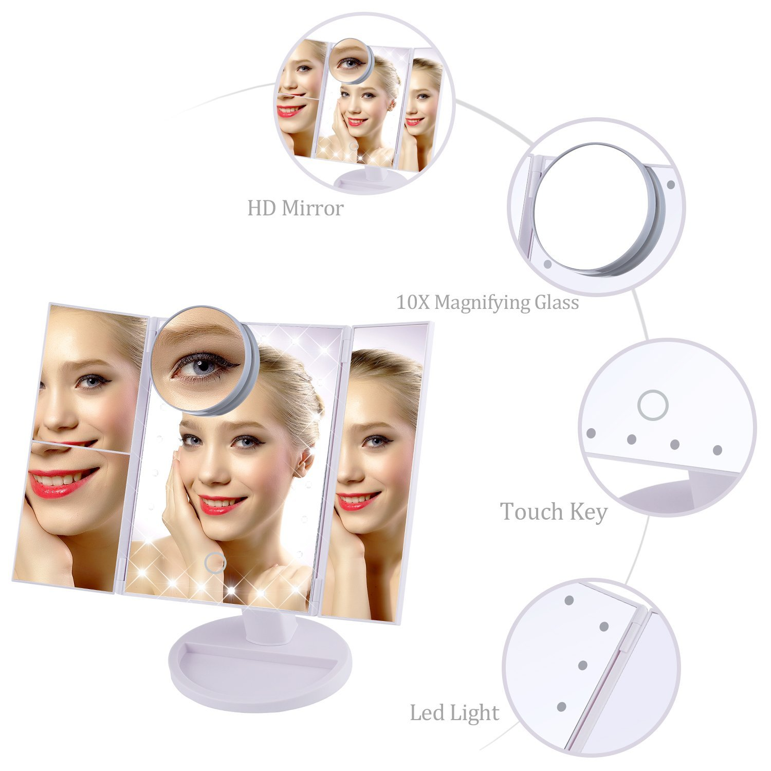 New trends three sides foldable LED lights desktop vanity makeup mirror with magnifier