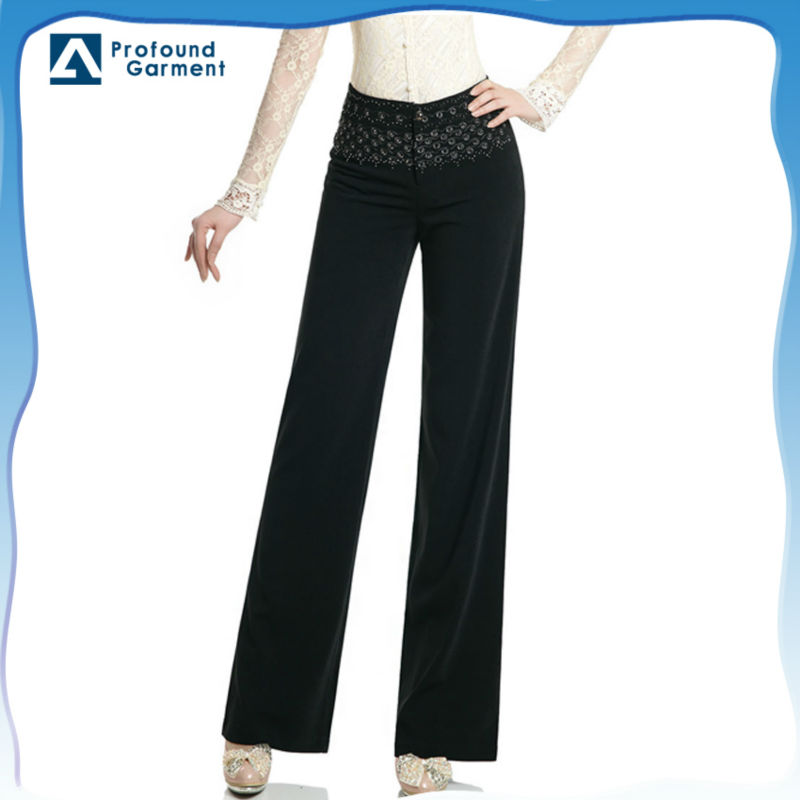 Latest design fashion rhinestones beaded embroidery design mid waist long women plus size pants