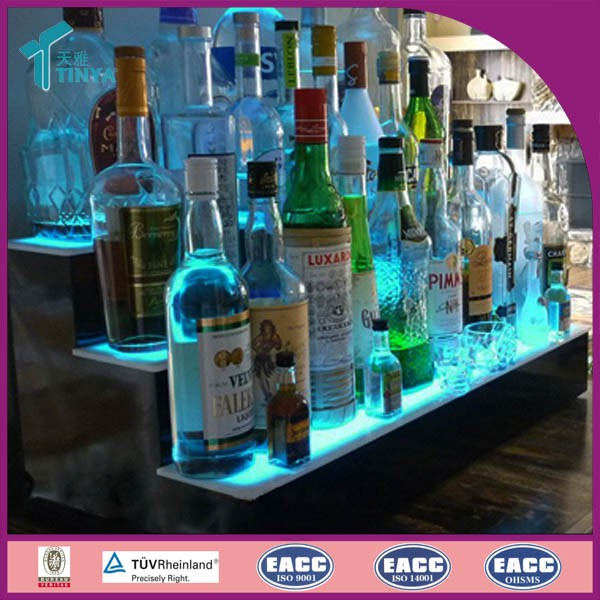 New Products Manufacturer Acrylic LED Bottle Glorifier Display LED Lights Wine Rack Acrylic Fake Wine Bottles for Display