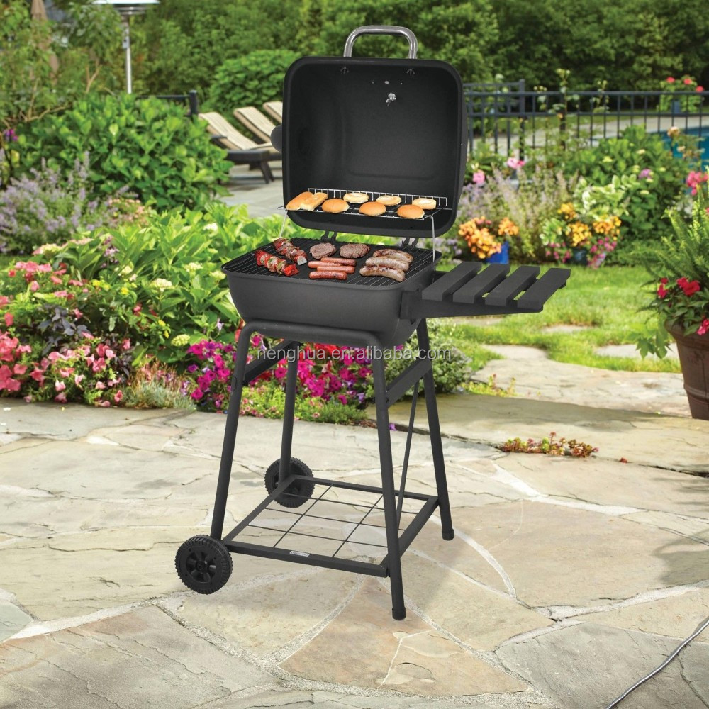 Pellet grill charcoal chimney bbq with wheels