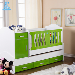 Wooden Baby Crib Bed Sleeping Baby Cot With Removable Drawers And Mosquito Net