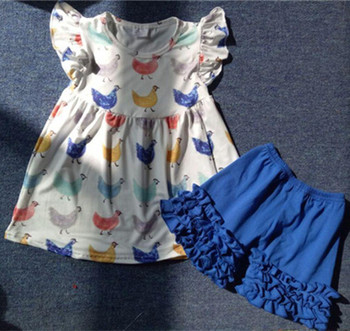 3b090c3cfaac Hot Sale Toddler Girls Chicken Pearl Top Summer Clothing Baby Cotton Clothes  Baby Flutter Sleeves Tunic