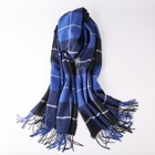 International style ladies tassel shawl cashmere like polyester check scarf