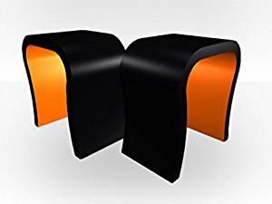 Zespoke Black Outer Curved Pair Bedside Tables - Orange Gloss Inner