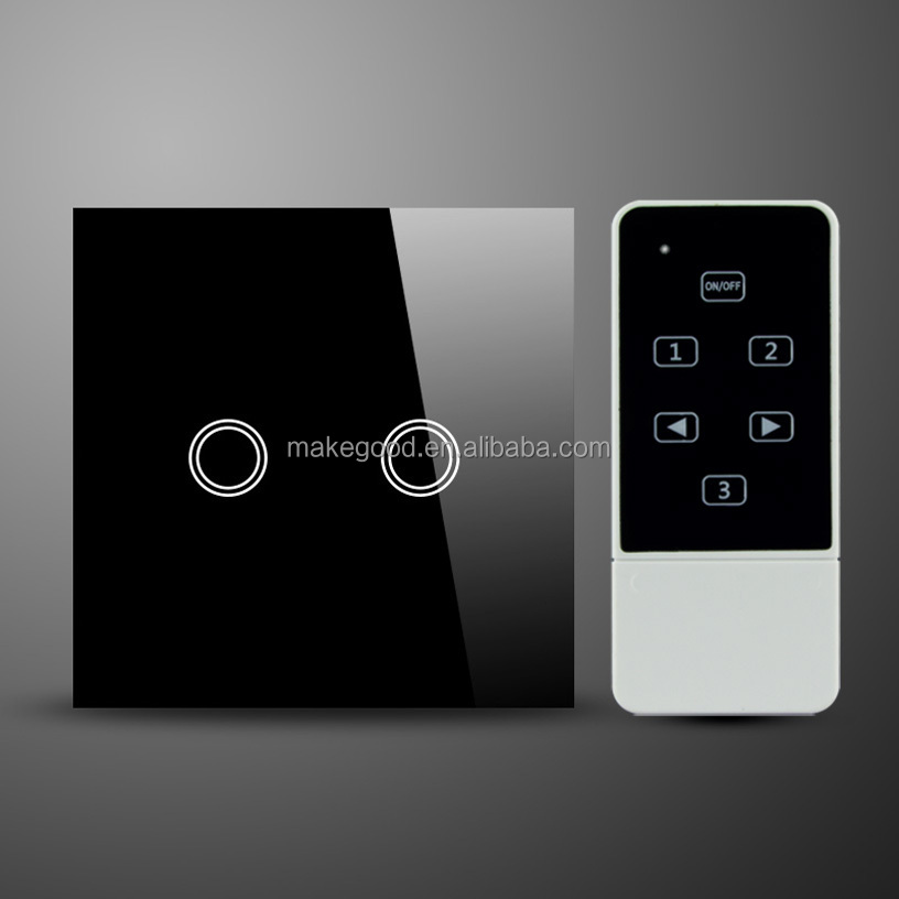 Uk Standard Smart Home 2 Gang Touch Screen Wall Switch Wireless ...
