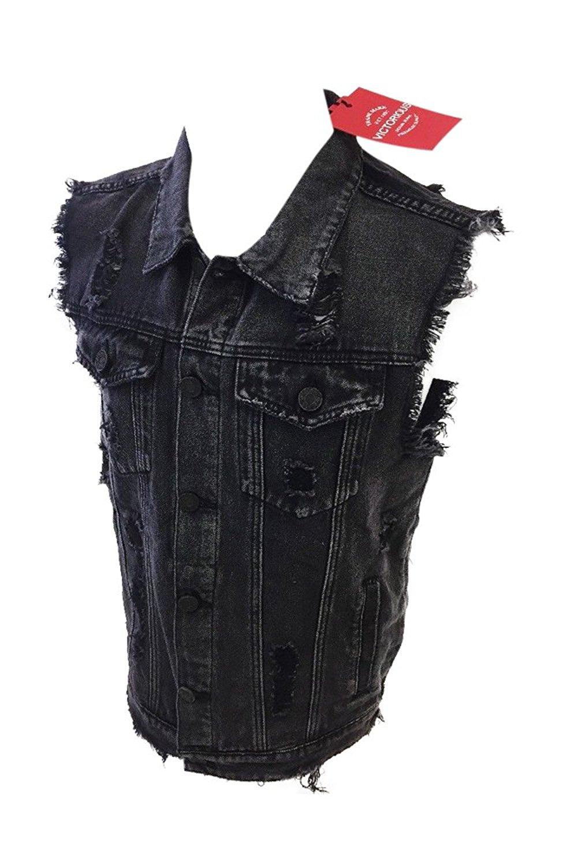 0fa5a59b27e Get Quotations · Flash Apparel Mens Victorious Sleeveless Denim Jean Jacket  Distressed Black Vintage Wash DK101
