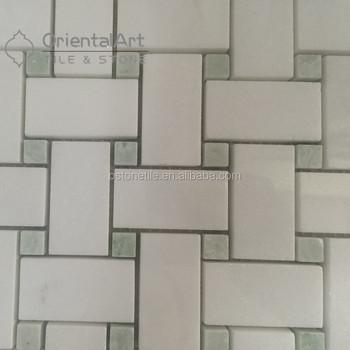 Shower Marble Dogbone Basketweave Floor Tile