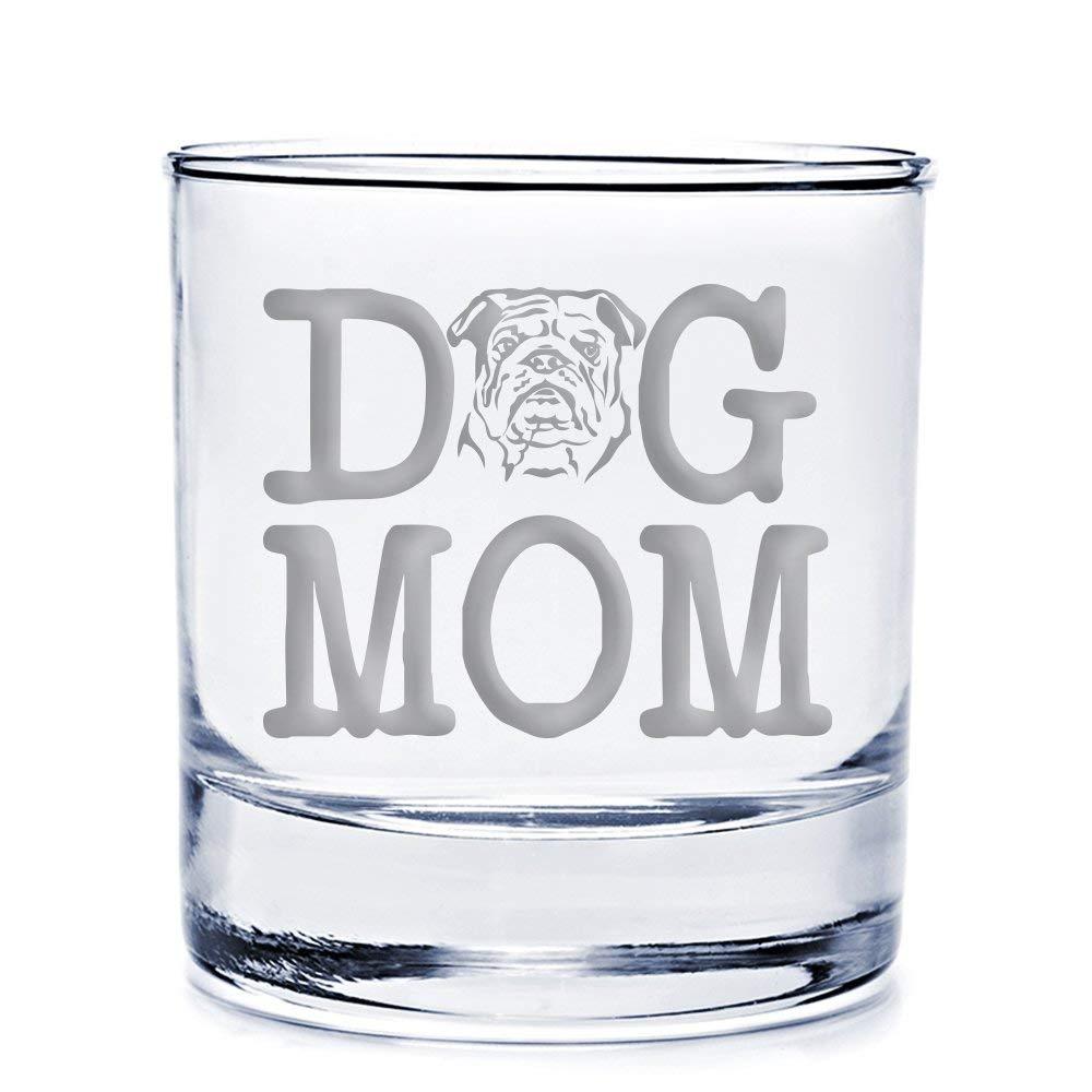 Dog Mom Bulldog Engraved 10-ounce Rocks Glass - 4pcs