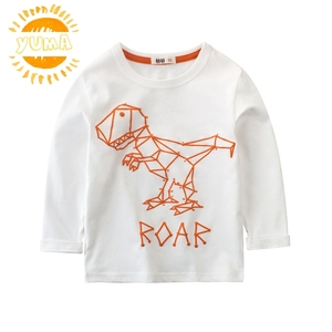Wholesale New Design Boys Long Sleeve Dinosaur T Shirt Kids Cotton Crew Neck Tee Tops Size 2-10