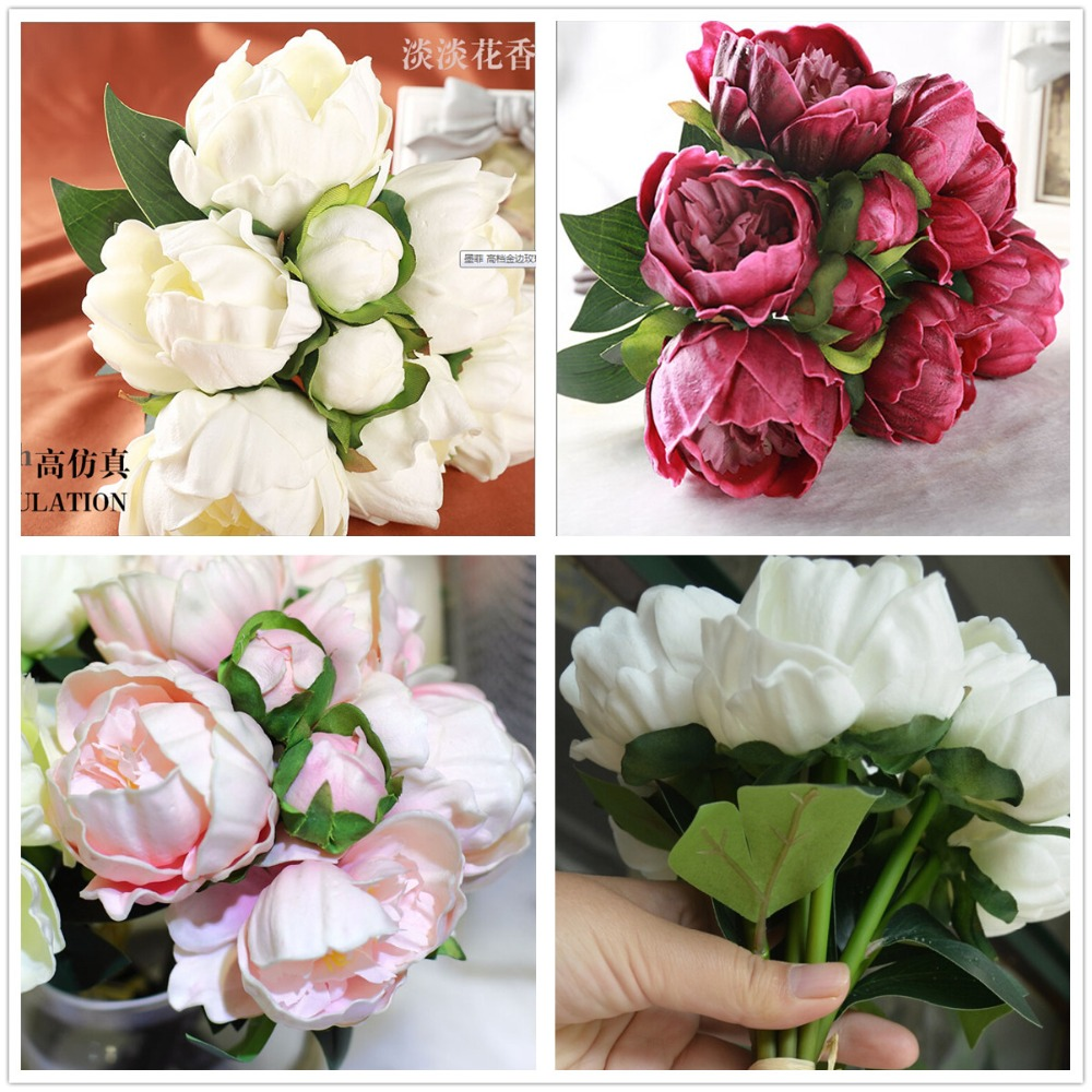 wholesale natural real touch pu flowers peony buds flowers bride bouquet wedding flower home. Black Bedroom Furniture Sets. Home Design Ideas