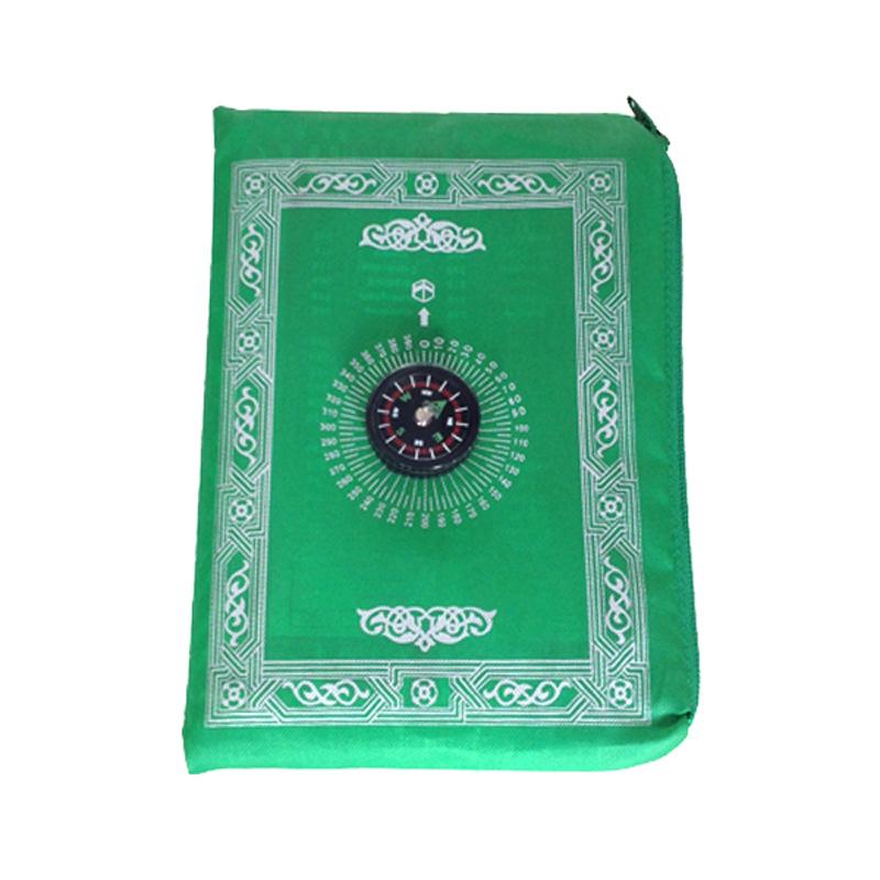 Nueva llegada musulmán islámico portátil de bolsillo de tamaño de viaje brújula estera de oración