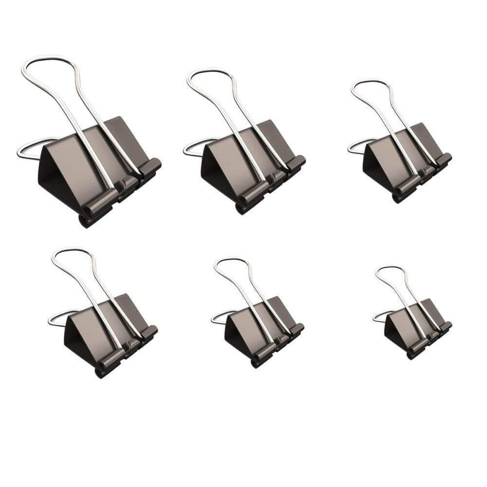 120pcs 6 Different Sizes 15/19/25/32/41/51mm Metal Binder Clips Black Foldback Paper Clamps Office Clips for Office/Organize/DIY