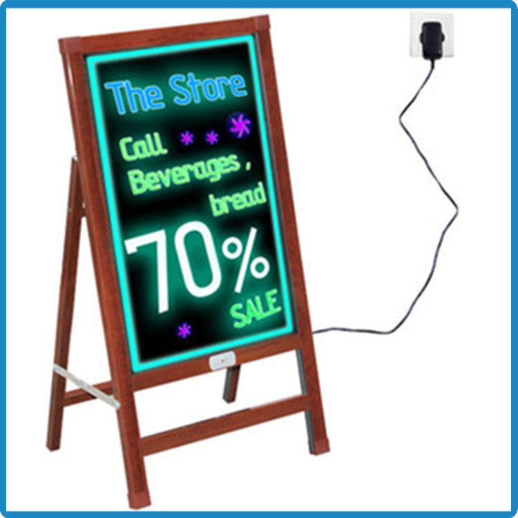 New double long side strip erasable message board wooden alike led sidewalk signs