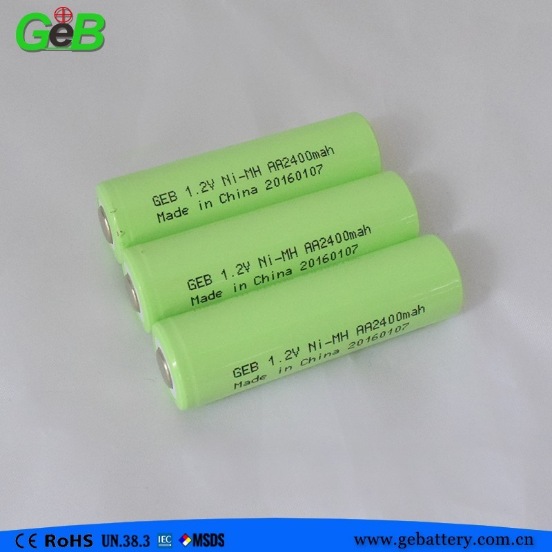 1.2V AA 2400mah Ni-MH rechargeable battery