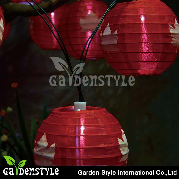 10LED string light lantern design with maple leaf solar LED garden outdoor lighting
