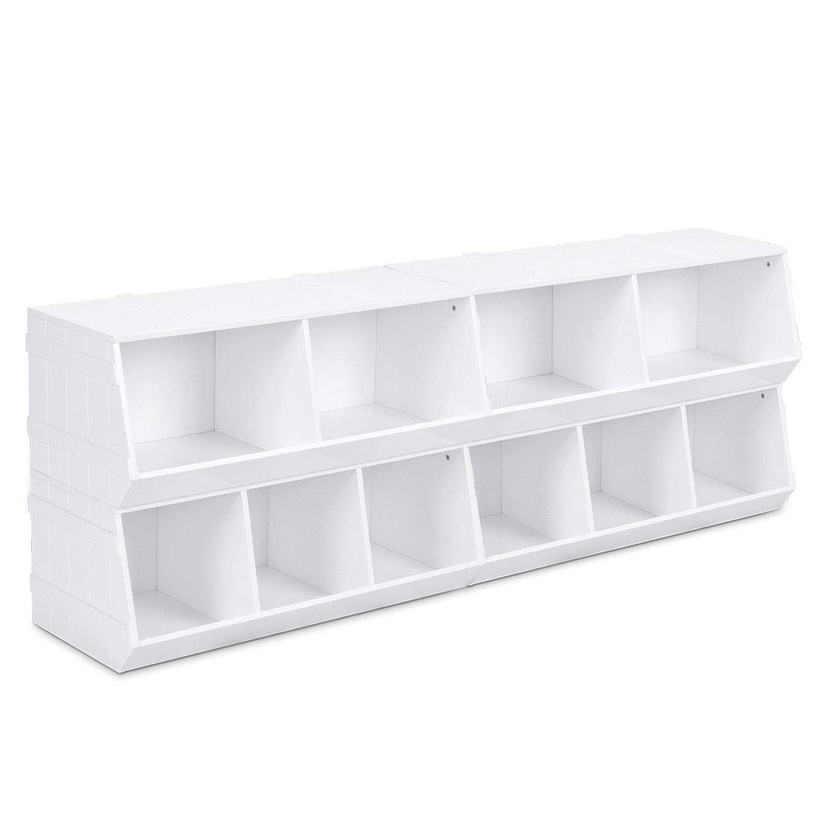 """GHP 2-Pcs 32""""x24""""x14"""" White MDF Stackable Storage Rack w 5-Section Cabin & Round Edges"""