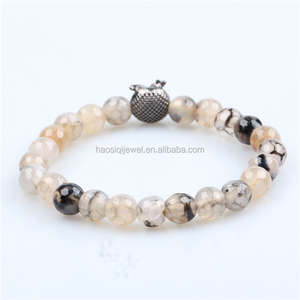 Black Rhodium Owl Bracelet Natural Stone Dragon Agate Jewelry Women Accessories