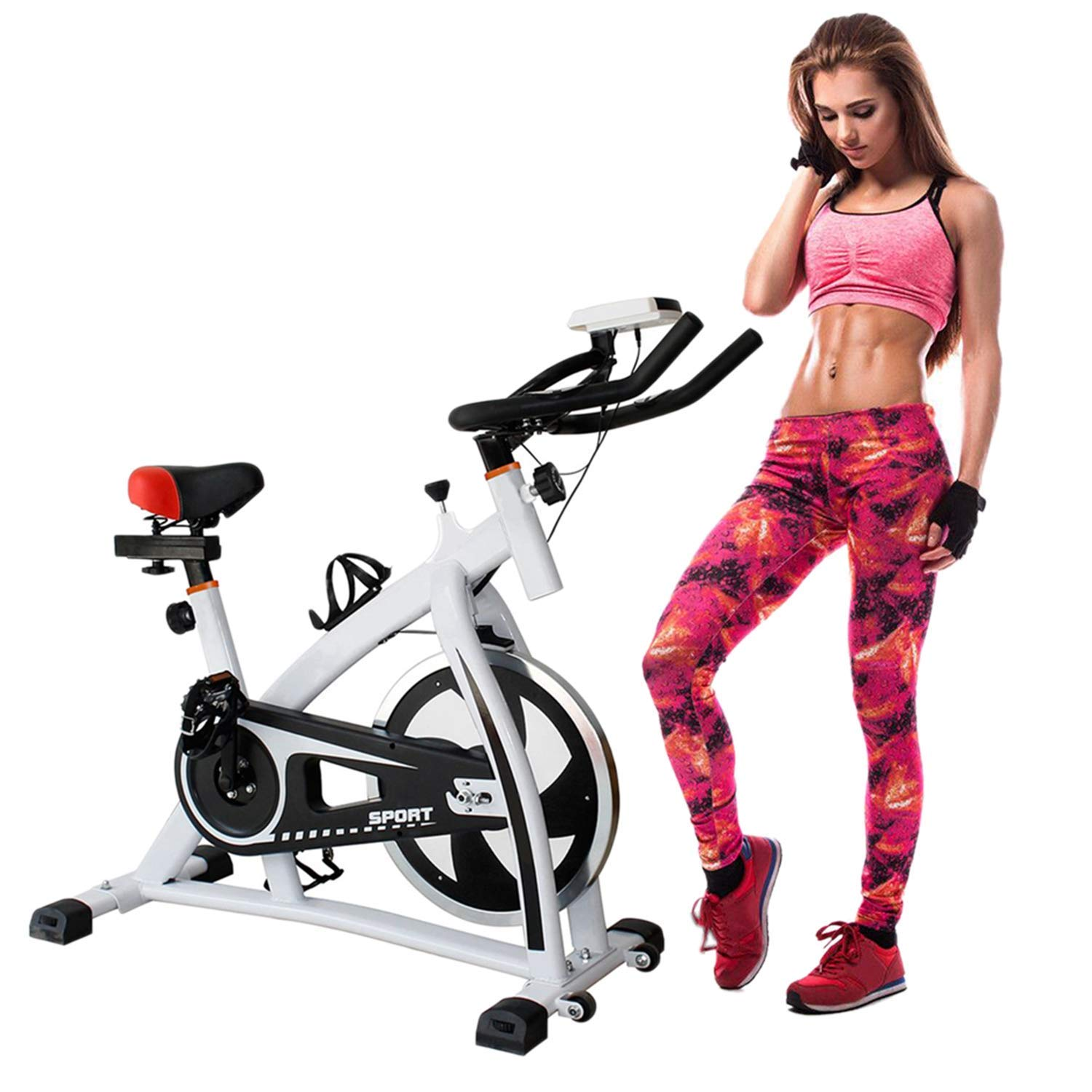 Meganolga Indoor Cycling Bike Indoor Cycle Stationary Exercise Bike Trainer Fitness Stationary Cycling Bicycle Exercise & Fitness Exercise Machines White