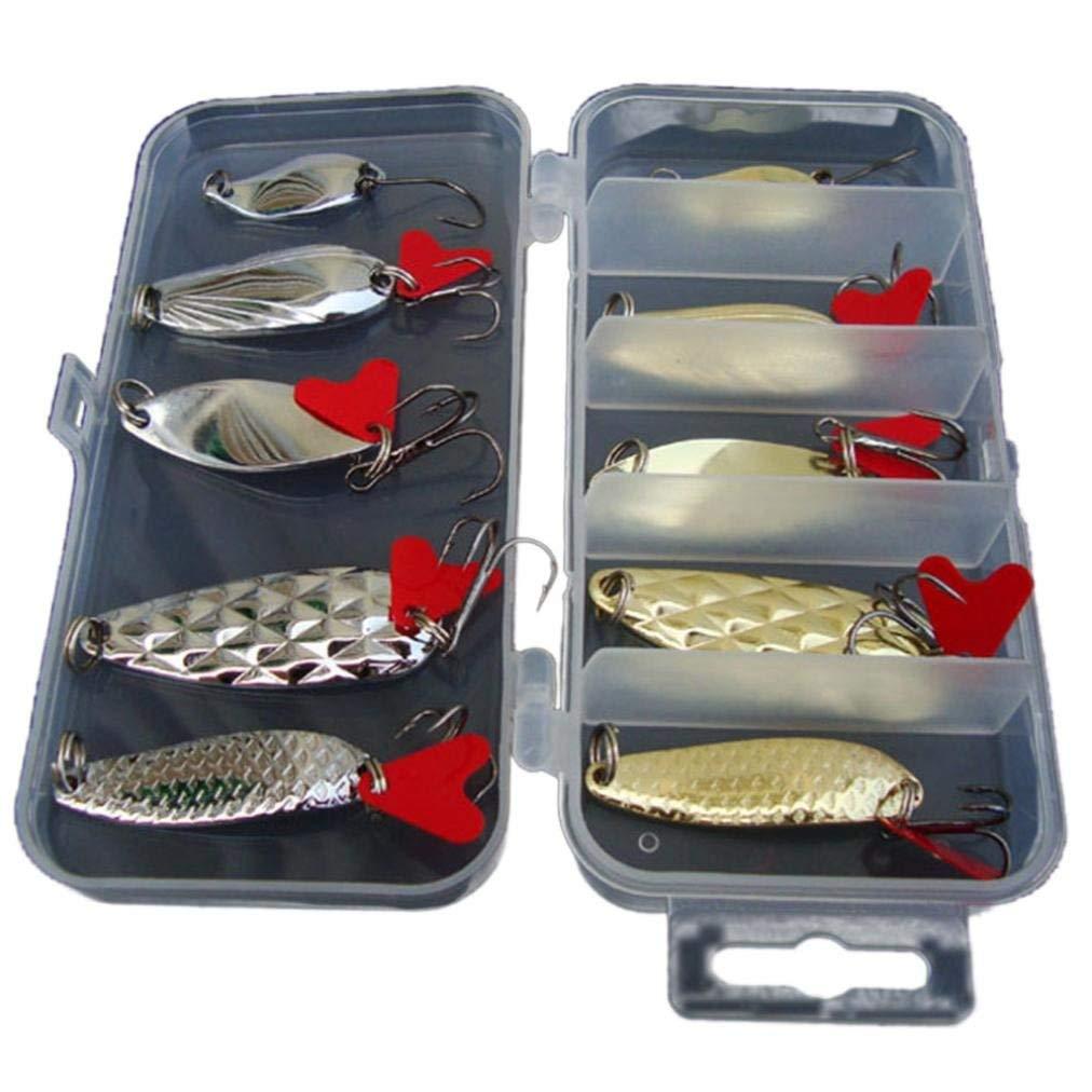 Rumas 10Pcs Bass & Trout Jerkbait, Fishing Lures Set Fishing Bait Freshwater Saltwater Fishing Kit Crankbait Salmon Minnow (Gold & Silver)