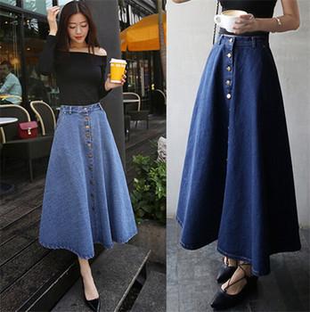 15c527706d25 2016 Wholesale Latest Dress Design Girls Women High Waist Denim Maxi ...