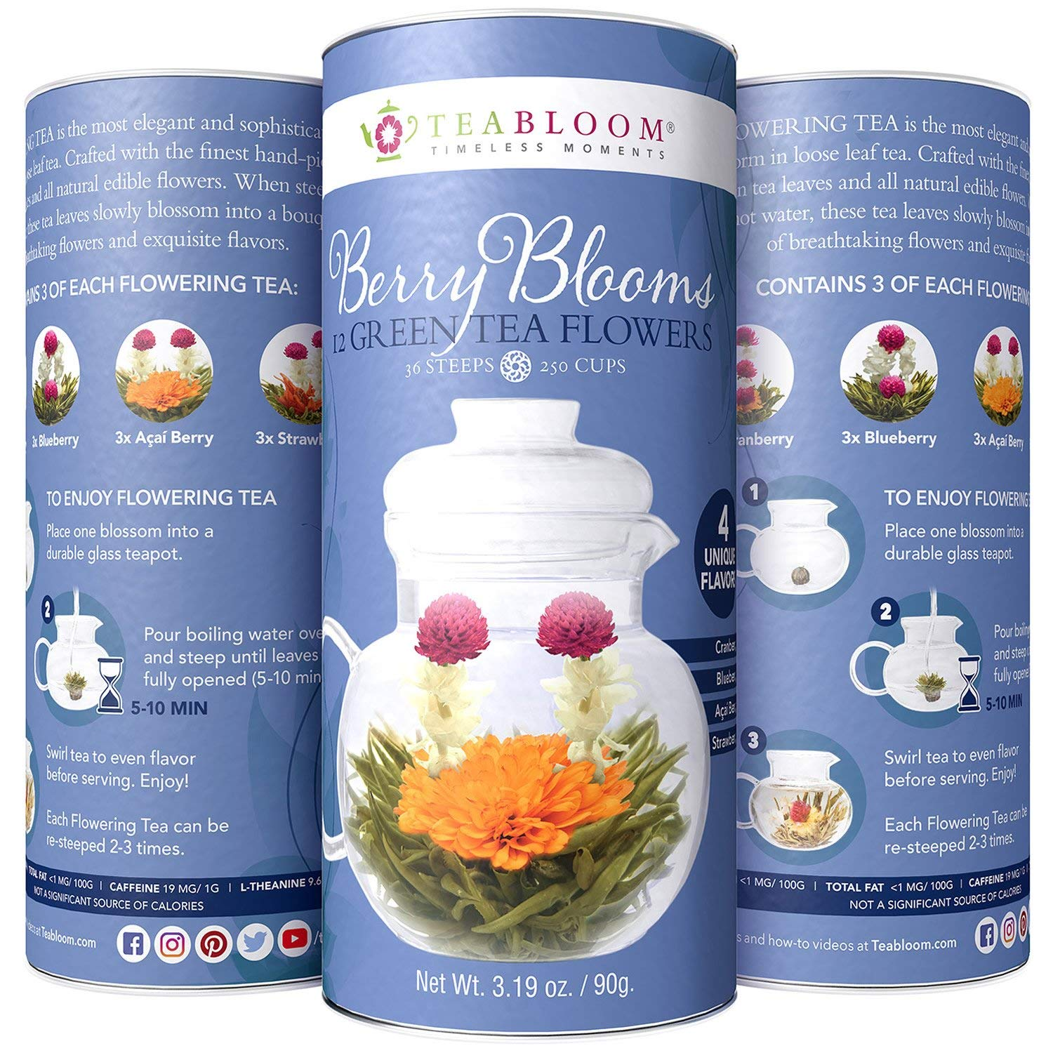 Teabloom Berry Flowering Teas - 12 Assorted, Delicious Berry Blooming Teas - Fresh, Handpicked Ingredients - Premium Green Tea + Cranberry, Blueberry, Acai Berry & Strawberry
