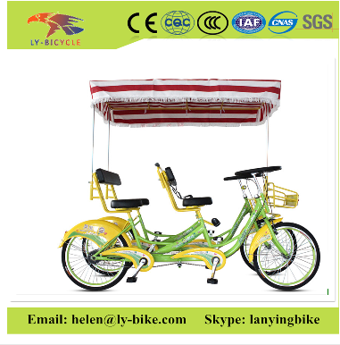 "24"" green/ blue/ red tandem <strong>bicycle</strong> /4 person surrey tandem bike for the park sightseeing"