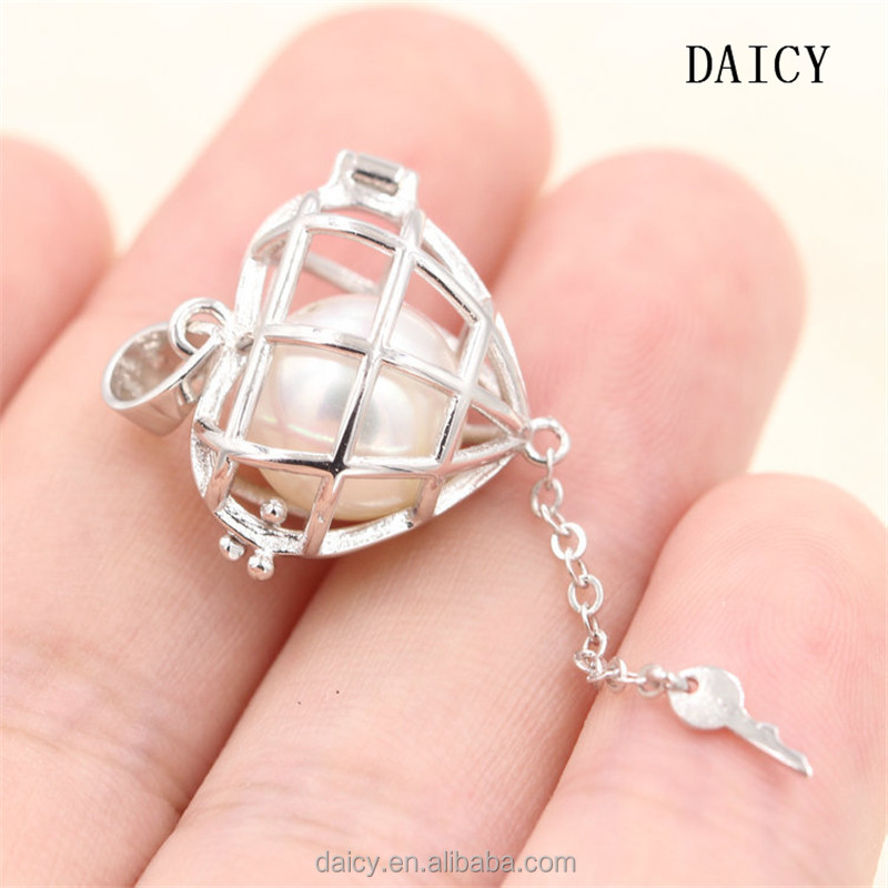 DAICY new fashion women 925 sterling silver heart key pearl pendant cage