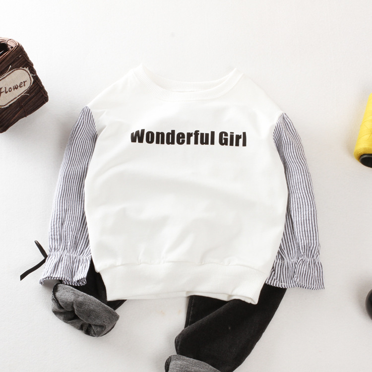 Spring Autumn Quality Striped Basic girls T Shirts Kids Tops Tees Long Sleeves Baby Children letter fleece Clothes New