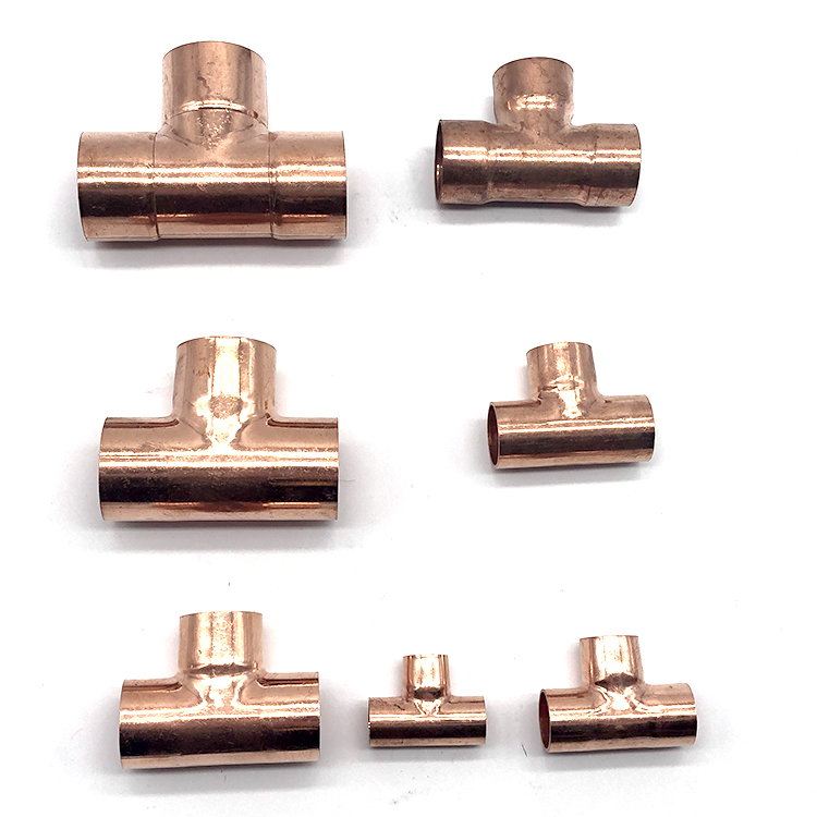 High quality Air Conditioner Parts Copper Tube Tee Pipe Fitting