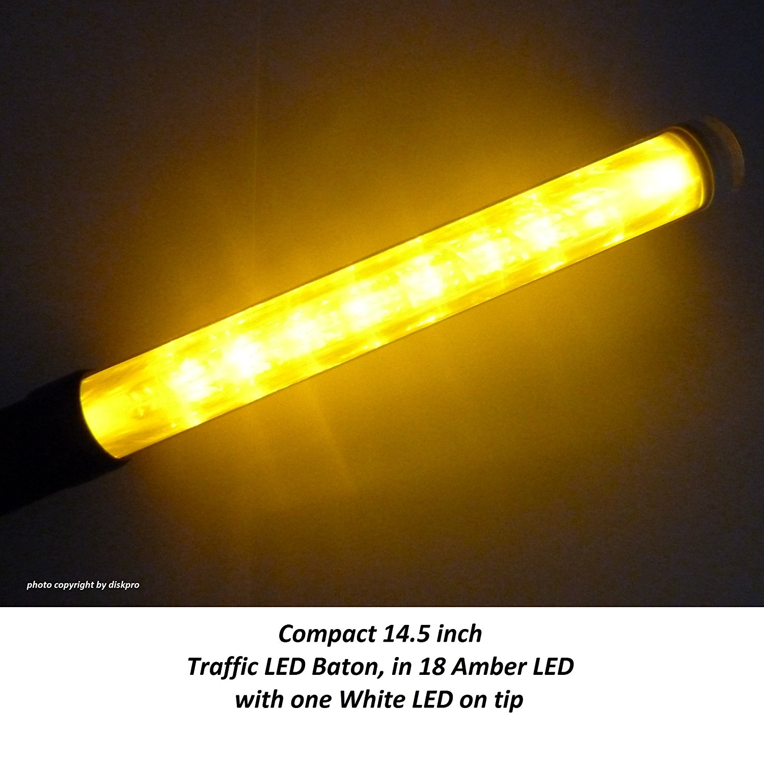 14.5 inch Amber LED Traffic Safety Wand Flashlight. Featured 18 Amber LED with 2 flashing modes (Blinking & Steady-glow) plus 1 White LED on tip, using 3 AA-size batteries.