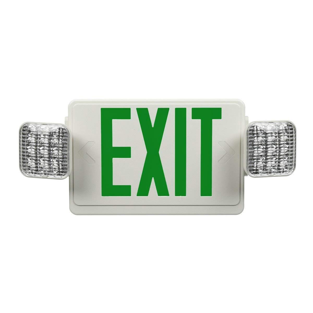 LED Exit Sign Emergency Light Combo with Green Letters