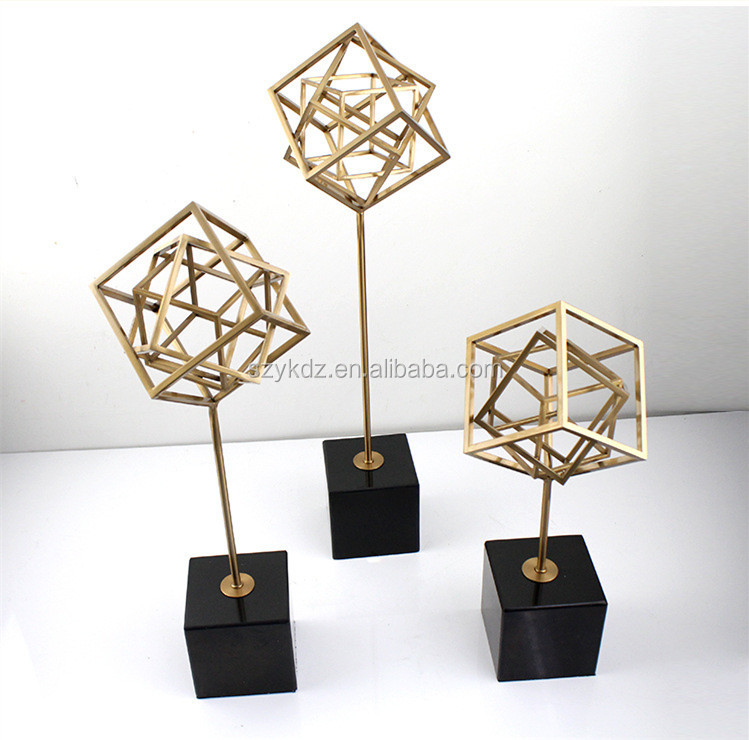 Geometric Frame design Metal Showpieces for Home Decoration Accessories Pieces Luxury