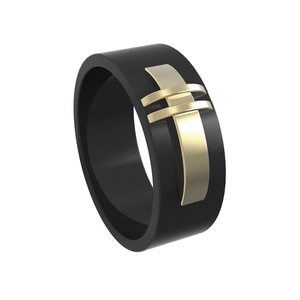 Custom black stainless steel band ring jewelry plating 14K gold 5 color metal ring