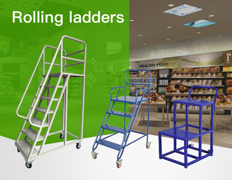 Warehouse Supermarket Portable Step Moveable Stairs Rolling Ladders