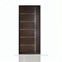 Factory price modern best solid frame design simple single panel interior entry teak wood door
