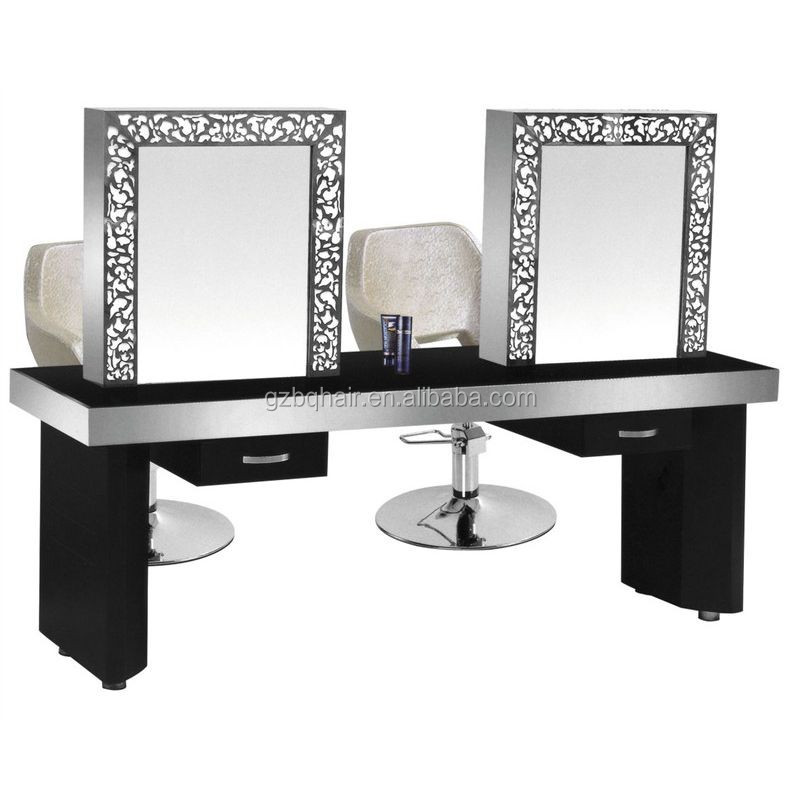Dressing table mirror with led lights double mirrors for Beauty parlour dressing table images