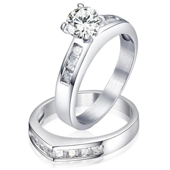 RI00270 Yiwu WT same style rings design stainless steel cz diamond wedding ring for couple