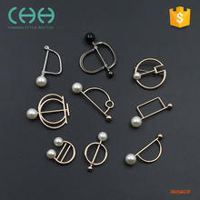 Fancy coat silver pearl decorative needle button brooch pin men for wedding